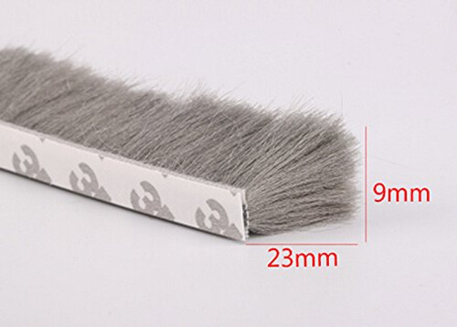 9mm x 23mm Self Adhesive Window Door Brush Seal Strip Weatherstrip Draught Excluder (Gray) (Window Brush Seal compare prices)