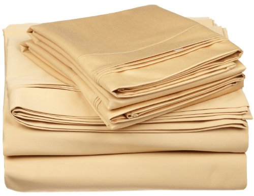 Egyptian Cotton 650 Thread Count Oversized King Sheet Set Solid, Gold front-720962