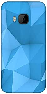 Snoogg Blue Polygon 2757 Designer Protective Back Case Cover For HTC M9