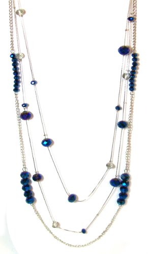 Just Give Me Jewels Silvertone Metallic Blue Triple Strand Beaded Necklace