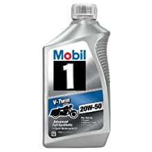 Mobil 1 V-Twin 20W-50 Synthetic Motor Oil for Motorcycle - 1 Quart (Pack of 6)