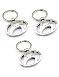 Indiashopers Hundai Full Metal KeyRing KeyChain (Pack Of 3)