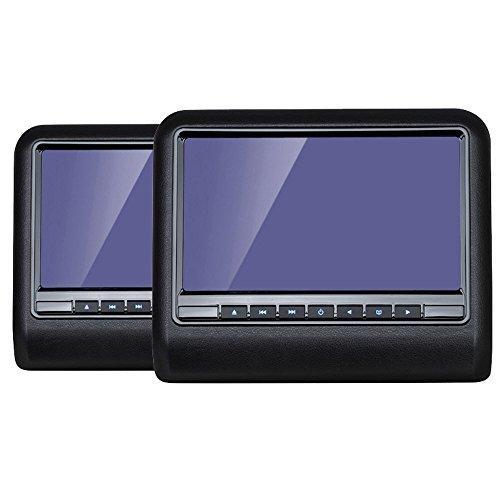 2-x-101-Kopfsttzenmonitor-mit-DVD-Player-von-ICARTECH-Schwarz-AV-Eingang-USB-Anschluss-SD-Kartenslot-FM-Transmitter-Dualzone-fhig-Lederoptik-Koppelbar-mit-Partnermonitor-Integrierte-Lautsprecher-Kabel
