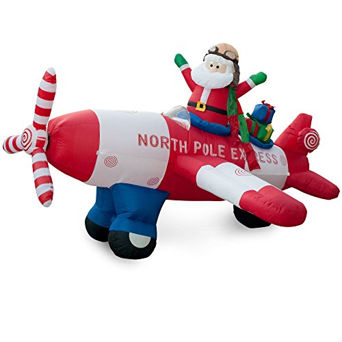 Holidayana 7.5 FT Santa Plane Inflatables Christmas Lawn Decoration | Spinning Propeller