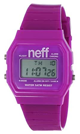 Neff Flava Unisex Digital Watch with LCD Dial Digital Display and Purple Plastic or PU Strap NF0204PRPL