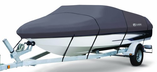 """Classic Accessories StormPro Heavy Duty Boat Cover, Charcoal, Fits 22' - 24' L x 116"""" W"""