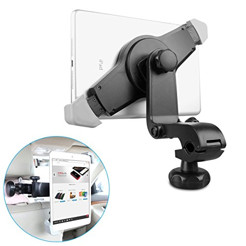 EC Technology 360 Degree Adjustable Rotating Headrest Car Back Seat Mount Holder for Apple iPad Air / iPad 4 / iPad 3 / iPad 2 / iPad Mini2 / iPad Mini and other Tablet PC - Black