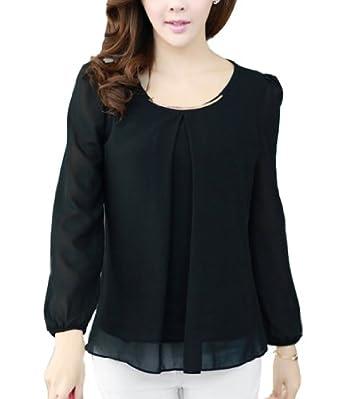 BININBOX Women's Chiffon Long Sleeve Casual Blouse Top T-Shirts (S, Black)