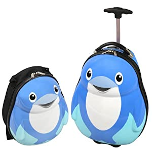 Childrens Dolphin Novelty Trolley Case Suitcase And Backpack By Skyflight