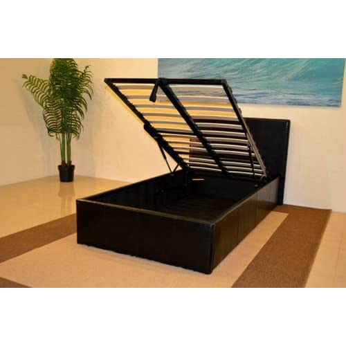 Black 3ft Single Storage Ottoman Gas Lift Up Bed Frame TIGERBEDS BRANDED PRODUCT