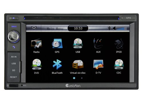 Double Din Custron T1062UD1 Universal Car Vehicle GPS Sat Nav DVD Player System With Bluetooth Phonebook/ Radio RDS/ Support Steering Wheel Control