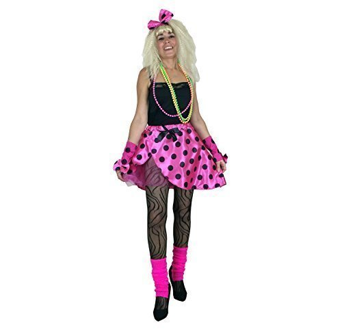Ladies Tutu Kit Pink 80's Fancy Dress Costume 1980s Neon Womens Outfit Size 16-18