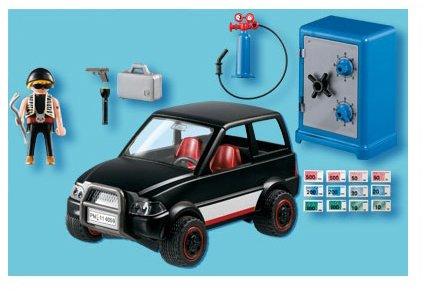 Imagen 2 de Playmobil Policía - Ladrón con caja fuerte y coche de huida (626564)