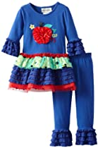 Girls Back to School Outfit : Blue Abc Apple Applique Girls Pant Set (6)