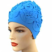 Floral Embossed Blue Vintage Style Latex Swim Bathing Cap