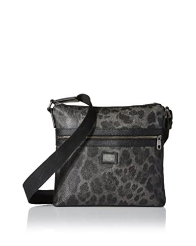 Dolce & Gabbana Men's Leopard Textured Leather Volcano Messenger, Charcoal