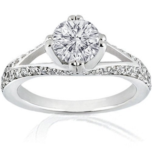 1.40 Ct Round Diamond Engagement Ring Split Band 