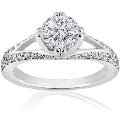 1.40 Ct Round Diamond Engagement Ring Split Band