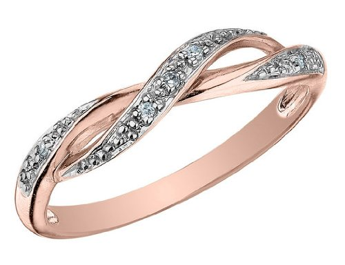 Diamond Ring in 10K Pink Gold, Size 10