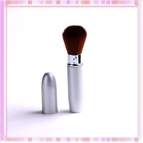 Silver Retractable Face Powder Blusher Makeup Brush Fibre Buffer Cheek Tool