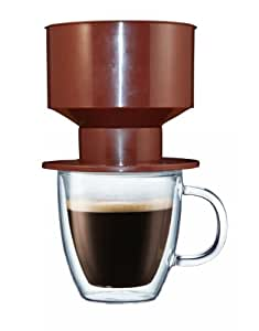 Amazon.com: Brew One Single Cup Pour Over Coffee Maker Cup With Permanent Coffee Dripper Filter ...