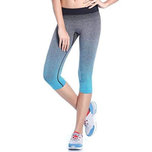 Wensltd Women Sports Yoga Pants Elastic Compression Tights Fitness Women Running Trouser (L, Blue)