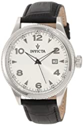 Invicta Men's 12198 Vintage Silver Dial Black Leather Watch