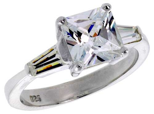 Sterling Silver 2 Carat Size Princess Cut Cubic Zirconia Bridal Ring (Available in Sizes L to T) size L