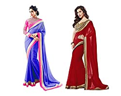 RockChin Fashions Blue and Red Embroidered Georgette Saree