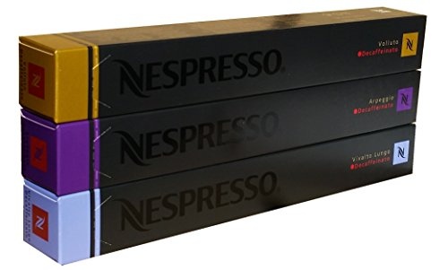 Nespresso Capsules Decaffeinato Mix - Vivalto Arpeggio Volluto - 30 Capsules, 3 Sleeves - New Decaf varieties