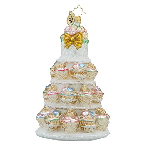 Christopher Radko Tiers of Joy Bridal Wedding Cake Themed Glass Christmas Ornament - 6