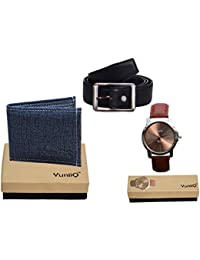 Combo Pack Of Blue Denim Shade Wallet With Black Belt With Brown Dial Stylish Wrist Watch.