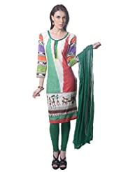 Saving Tree Red And Green Cotton A Line Suit With Matching Contrast Legging And Dupatta