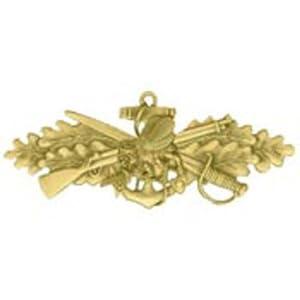 "U.S. Navy Seabee Combat Warfare Pin Gold Plated 2 3/4"""