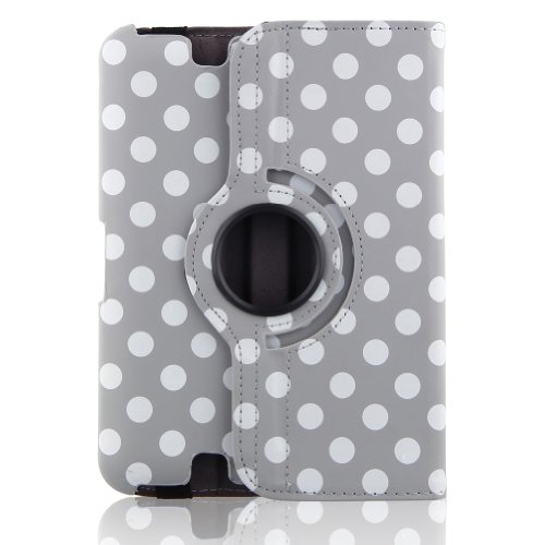 "Generic Pu Leather Luxury Stylish Slim-Fit Ultra Lightweight 360 Degrees Rotating Swivel Stand Polka Dot Pattern Design Series Smart Cover Case Skin Multi-Angle Viewing For Amazon Kindle Fire Hd 7"" Tablet (Only For 2012 Old Model) With Free Gifts - Gray/G"