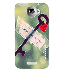 ColourCraft Love Key Design Back Case Cover for HTC ONE X