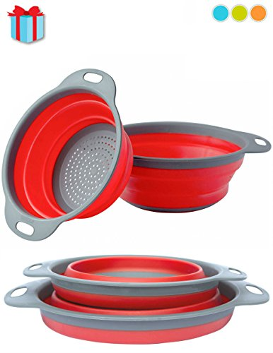 Colander Set - 2 Collapsible Colanders (Strainers) Set By Comfify - Includes 2 Folding Strainers Sizes 8