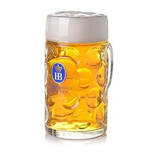 "1 Liter HB ""Hofbrauhaus Munchen"" Dimpled Glass Beer Stein"