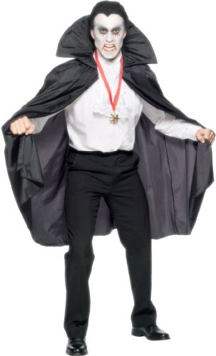 Smiffy's Men's Fabric Cape with Stand Up Collar 114 Cm 45 Inches Long, Black, One Size