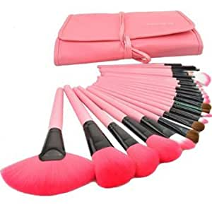 MAK PRO 24 Pieces PINK Leather Case Makeup Brushes