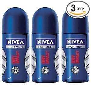 Nivea For Men Dry Impact Roll-On 50 Ml (3 Pack)