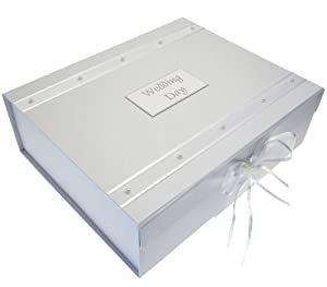 White Cotton Cards Wedding Keepsake Box, A4 Size, Large, Pearls