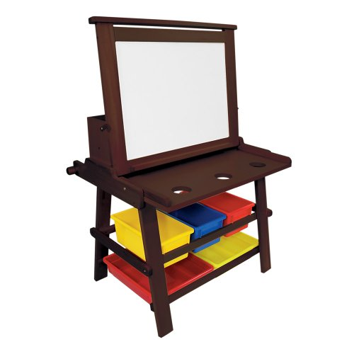 B. Toys Kids Flip Down Wood Easel/art Desk Combo In Espresso