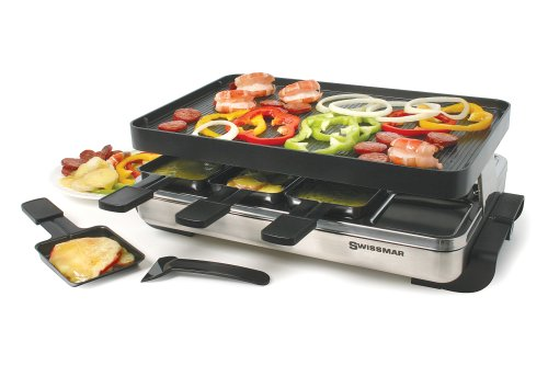 Swissmar-KF-77080-Stelvio-8-Person-Raclette-Party-Grill-with-Reversible-Cast-Aluminum-Non-Stick-Grill-Plate-Crepe-Top-Brushed-Stainless-Steel