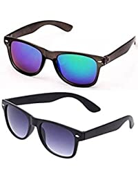 SHEOMY SUNGLASSES COMBO - BLUE MERCURY WAYFARER SUNGLASSES AND BLACK BLUE WAYFARER SUNGLASSES WITH 2 BOXES