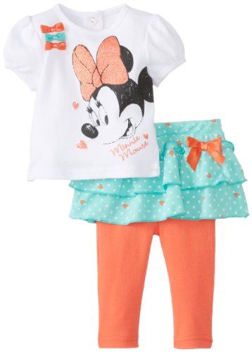 Disney Baby Baby-Girls Newborn 2Pc Minnie Mouse Skegging Set With Ruffles And Bows, White Multi, 0-3 Months front-990242