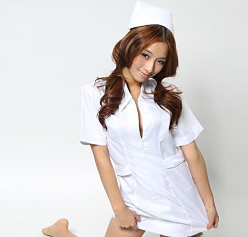 誘惑ナース ナース コスプレ コスチューム 【 2点 + アイマスク + 収納袋 セット 】 ワンピース ナース帽 白衣の天使 看護婦 衣装 K240