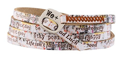 We Positive We+ Friendship Leather Wrap Message Italian Bracelet Printed Collection Graffiti Style 206