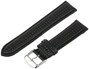Hadley-Roma Men's MSM840RA-200 20-mm Black Carbon Fiber with Leather Backing Watch Strap