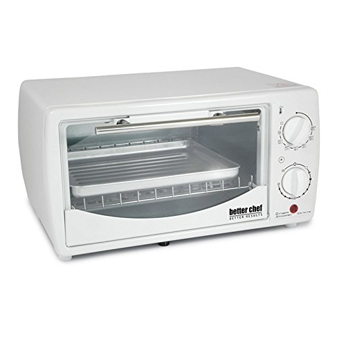 Better Chef 0.32 Cubic Foot Tempered Glass Door Toaster Oven Broiler Accessories Included, Black/White (White) (Flame Broiler Oven compare prices)